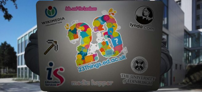 23 Things stickers on laptop cover