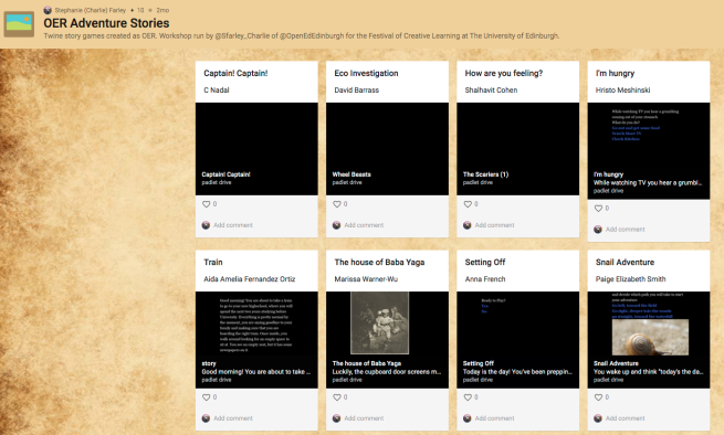 Screenshot of the Padlet page