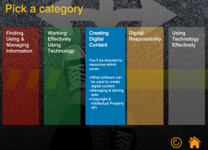 Screenshot of category options